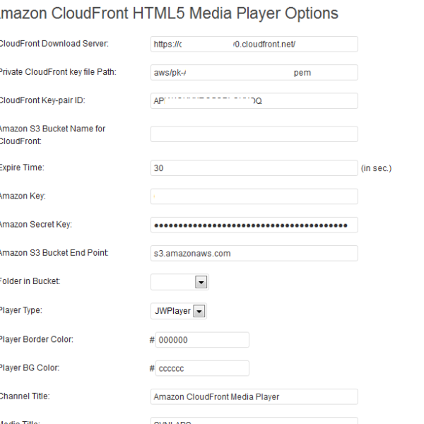 Admin Settings for AWS CloudFront HTML5 Player