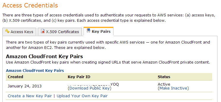 Amazon CloudFront Keys Amazon Web Services