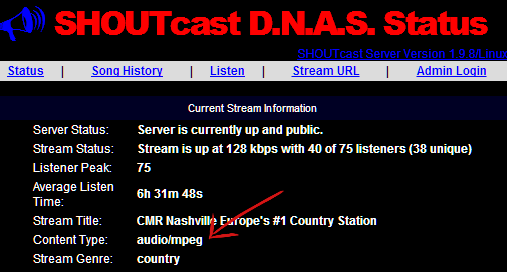 Shoutcast Content Type
