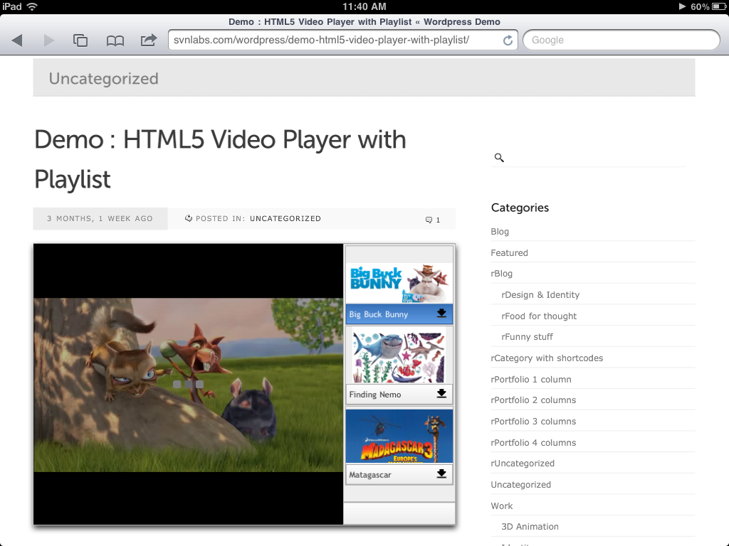 iPad : HTML5 Video Player with Playlist