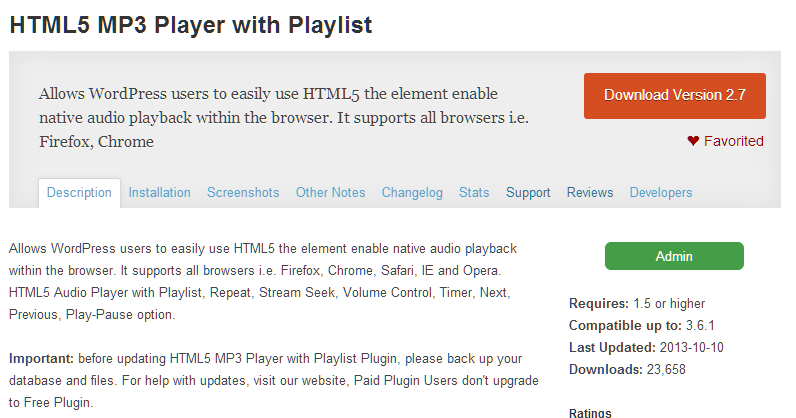Don't Update Paid HTML5-MP3-Player-with-Playlist to Free-Plugins