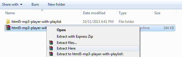 Extract HTML5 MP3 Player