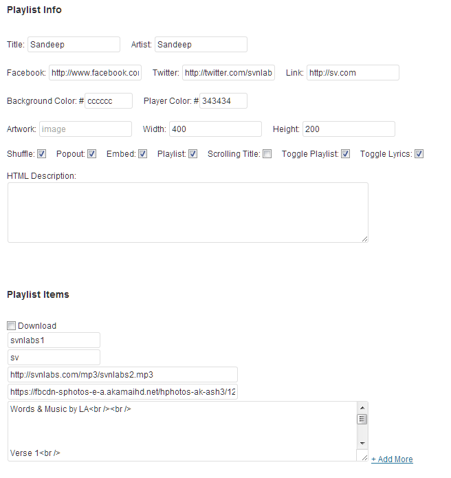 HTML5 MP3 Player Playlist with Lyrics Text Admin Settings